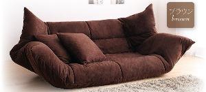 うたた寝できるカバーリングフロアソファベッド (カラー:ブラウン)