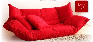 うたた寝できるカバーリングフロアソファベッド (カラー:レッド)